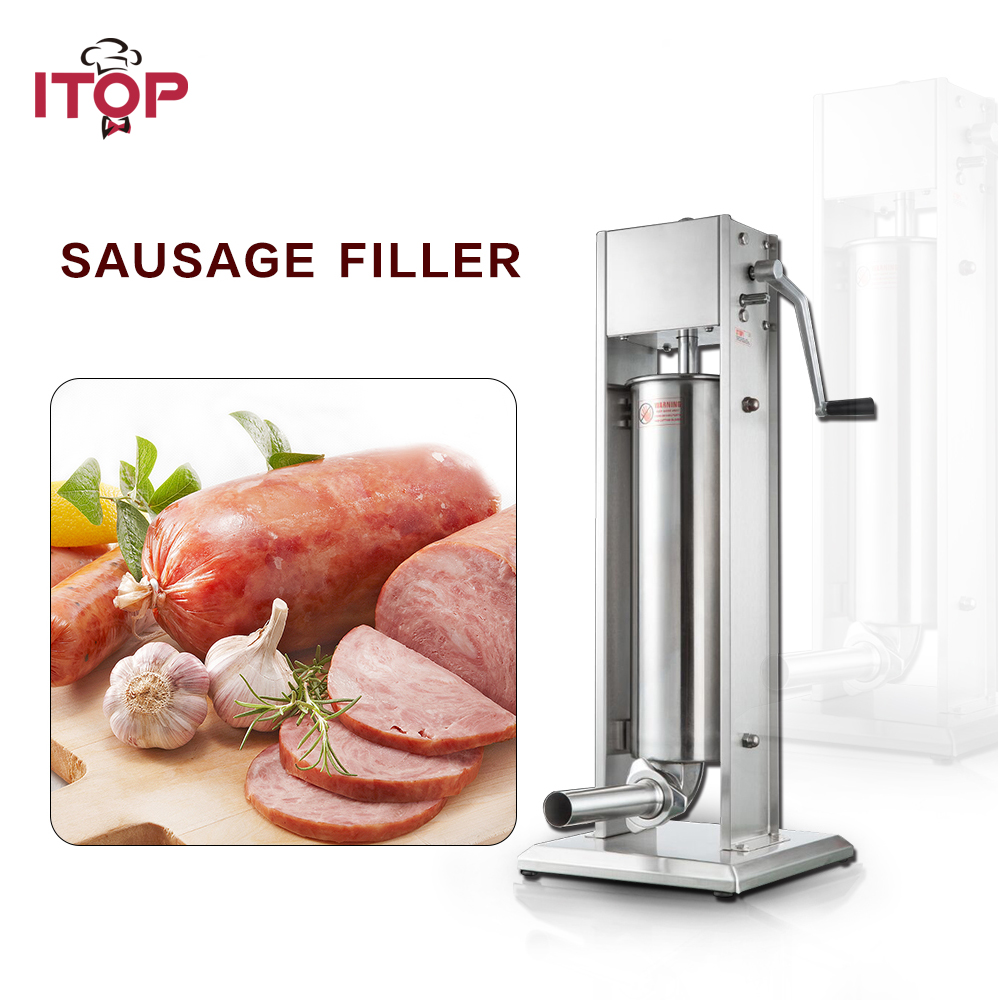 ITOP Stainless Steel 3L/5L/7L Manual Sausage Stuffers Sausage Fillers Commercial Heavy Duty Food Filling Machine Machine