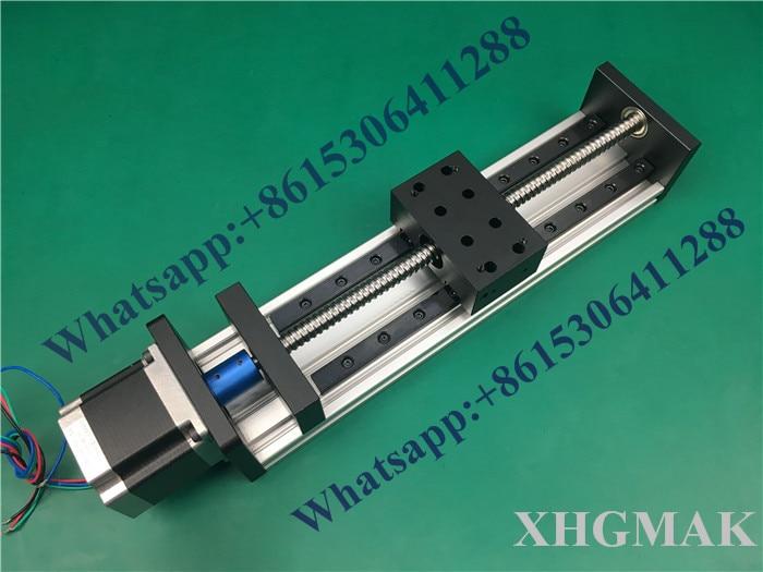 High Precision GX80*50mm Ballscrew 1204 100mm 300mm Effective Travel+Nema 23 Stepper Motor Stage Linear Motion single block