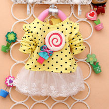 Lollipop Casual Baby Girls Kids Toddlers Lace Bow Princess Dress One-piece