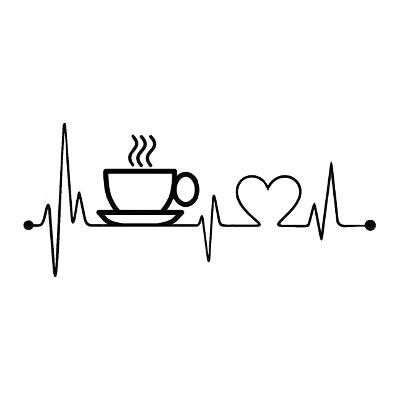 17cm 7 6cm Coffee Sup Heartbeat Fashion Vinyl Stickers Car