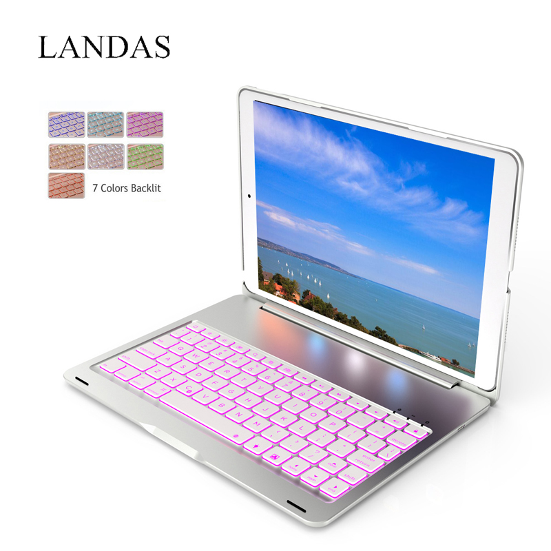 Landas Case For iPad 2018 2017 Keyboard Cover Bluetooth Wireless Keyboard Backlit For iPad Air 1 Case For New 9.7 Cover Stand tablet keyboard for ipad 2018 case cover bluetooth wireless backlit keyboard for ipad 2017 smart cover stand 9 7 inch 2018 case