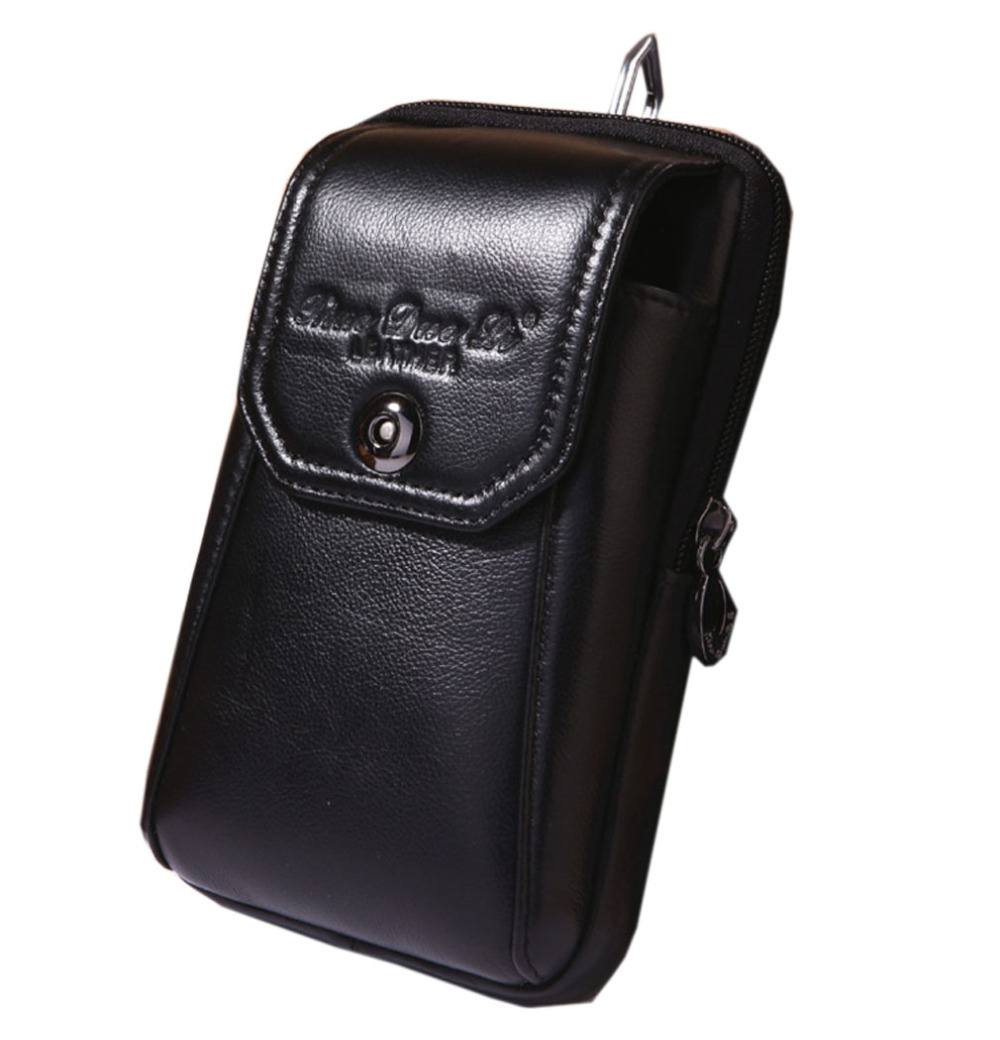 2018 Men Oil Wax Genuine Leather Cowhide Vintage Travel Cell/Mobile Belt Hip Bum Pouch Hook Purse Fanny Pack Waist Bag fashion men genuine leather real cowhide wallet hook cell mobile phone case bag bum hip belt waist pack bag coin purse pouch