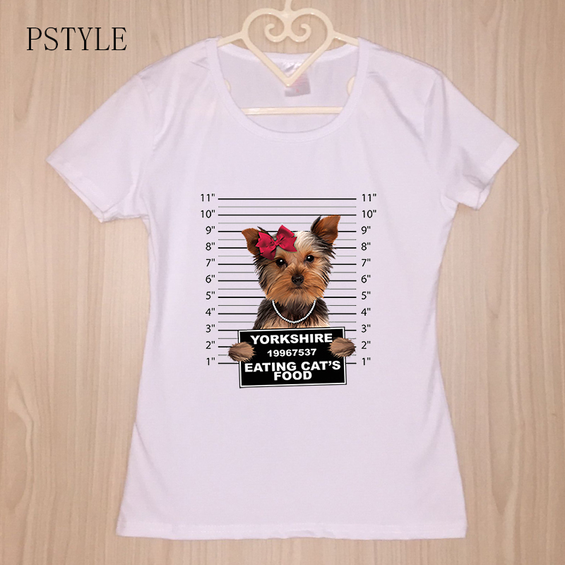 Summer Women T Shirt Animal Design White Tee Shirt Short Sleeve Yorkshire Clip Puppy Cute Funny T Shirts Lovely Camisetas Mujer