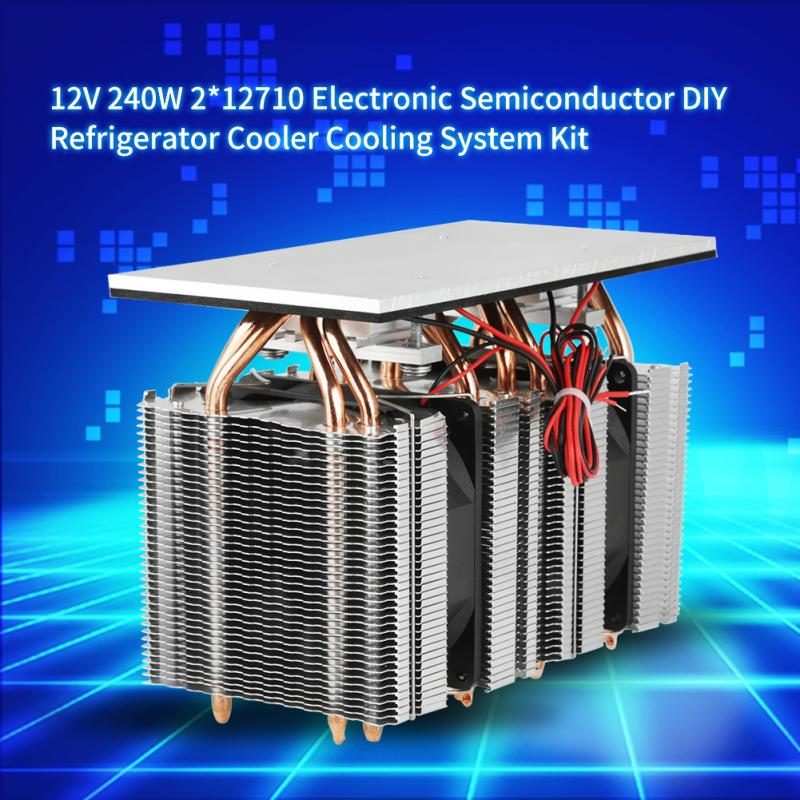240W DIY Refrigerator Cooler 2*12710 Electronic Semiconductor Refrigeration 12V DIY Refrigerator Cooler Cooling System Kit