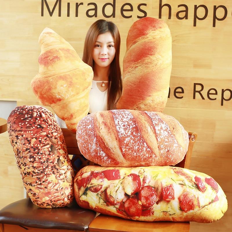 Длинная Подушка для хлеба в западном стиле, Набивная игрушка для выпечки, Круассанов, игрушка для хлеба, Реалистичная подушка для еды, диван...