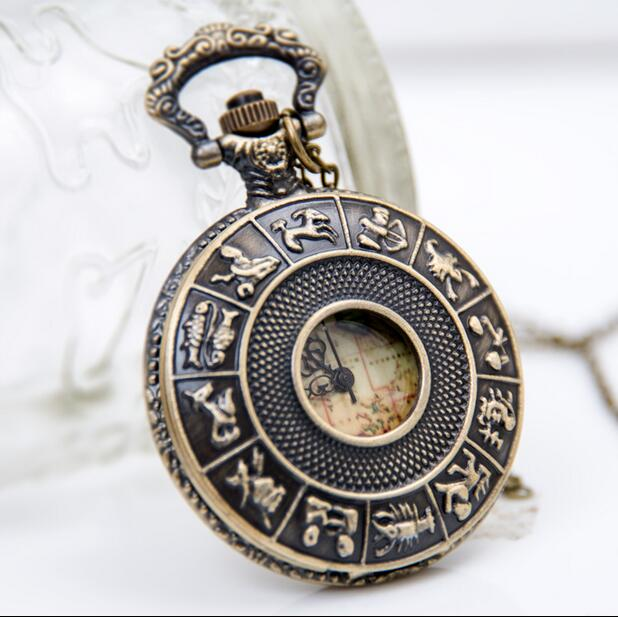 Vintage Fashion Quartz 12 Zodiac Hollow Out World Map Mens And Woman Gift Pocket Watches Chain