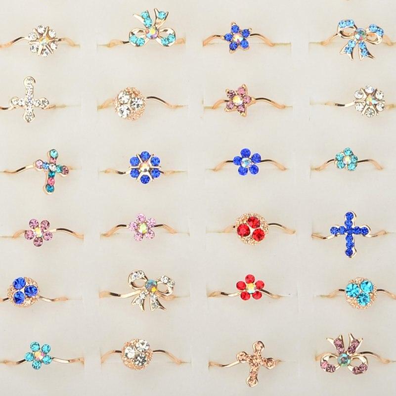 Imixlot Wholesale Jewelry Lots 20Pcs Butterfly Cross Flower Mixed Crystal Rhinestone Kid Finger Rings for Women Girls