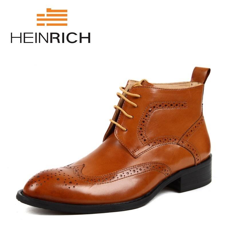 Генрих 2018 новые модные туфли из натуральной кожи Мужские ботинки ретро Повседневное Для мужчин ботильоны из коровьей кожи мужская кожаная