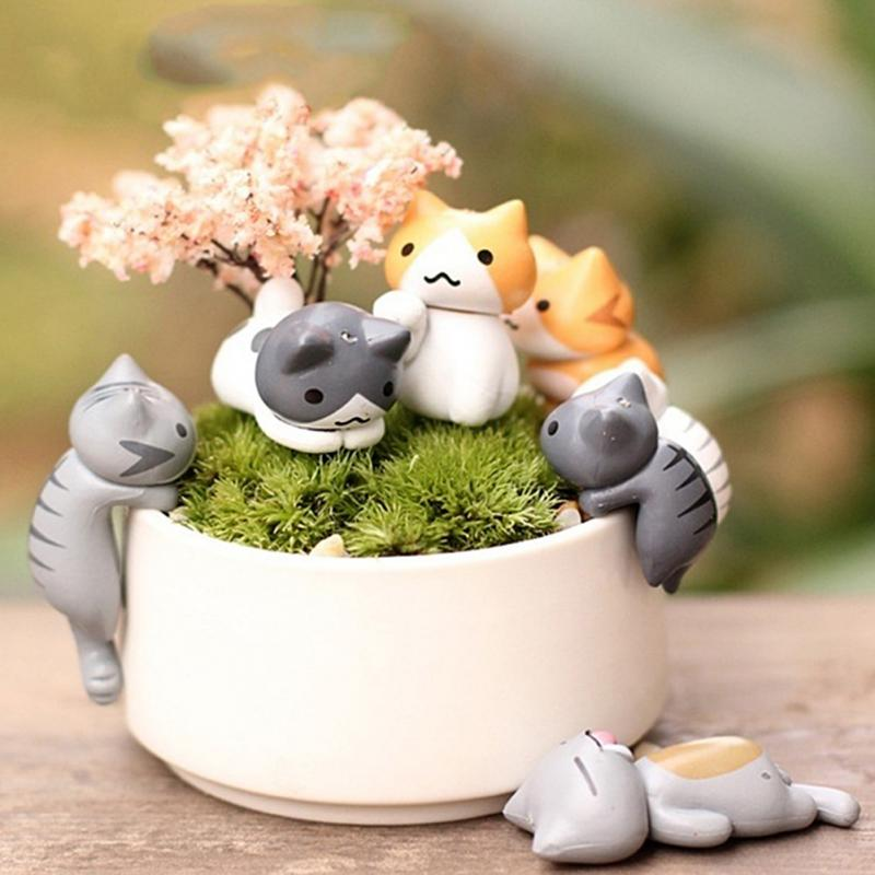 6pcs Miniature Fairy Garden Decorations Kawaii Cartoon Mini Cat Crafts Micro Landscape