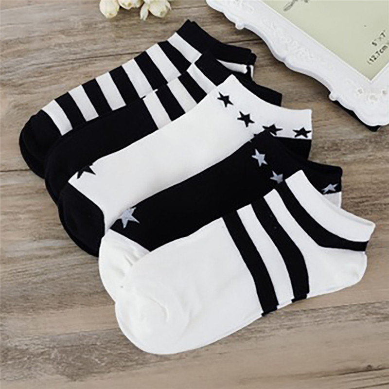 WOMAIL1Pairs Unixsex Socks Summer Comfortable Black White Stripe Cotton Sock Slippers Short Women And Men  Ankle Socks MAY21