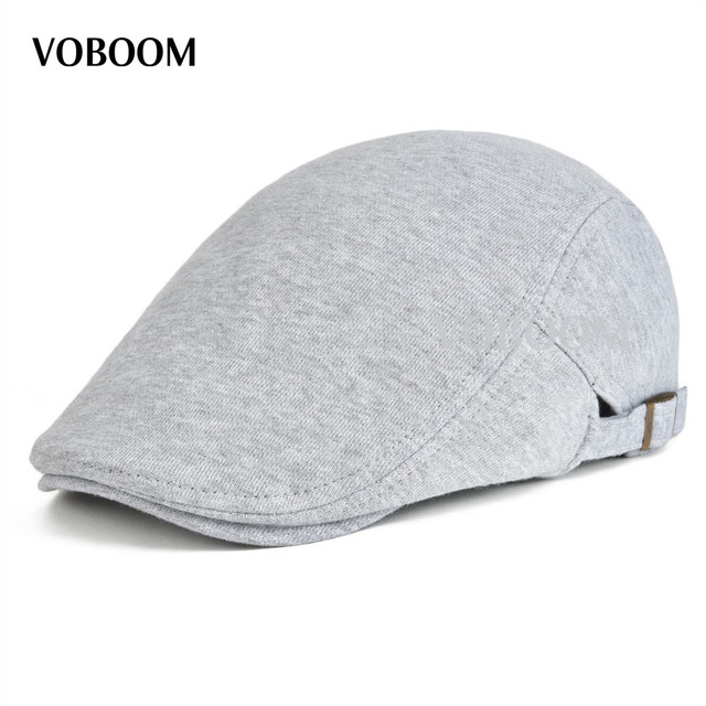 Cotton Men Women Gray Flat Ivy Cap Soft Solid Color Driving Cabbie Hat  Adjustable Newsboy Caps 039 6de9b2ec54e