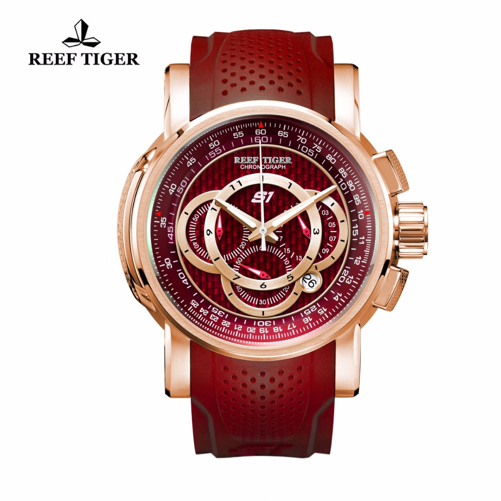 Reef Tiger/RT Sport Quartz Watches for Men Rubber Strap Big Red Dial Rose Gold Watch with Chronograph Date RGA3063 reef tiger rt chronograph sport watches for men dashboard dial watch with date quartz movement steel watches rga3027