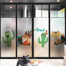лучшая цена Window sticker glass bathroom light opaque matte film kindergarten classroom glass stickers cartoon animals opaque film