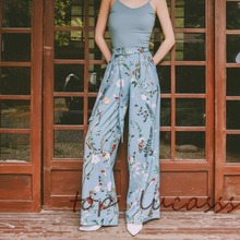 New 2016 summer fashion women's european style flower prints wide leg pants casual designer pants D6334