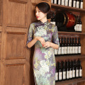 New Winter Cheongsam Chinese Traditional Dress Silk Satin Gray Vintage Three Quarter Stand Neck Qipao Chinese Party Dresses