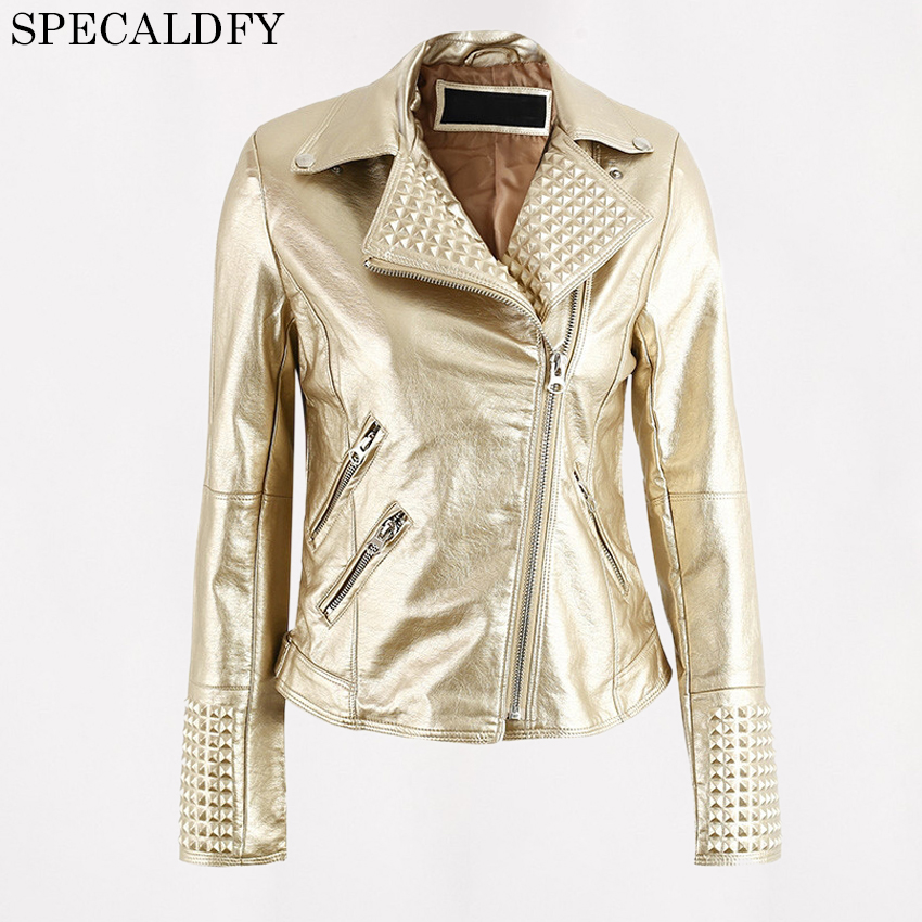 PU leather Jacket Women Cool Motorcycle Black Gold Leather Coat Women Basic Coats 2018 Spring Fashion Biker Jackets Outerwear
