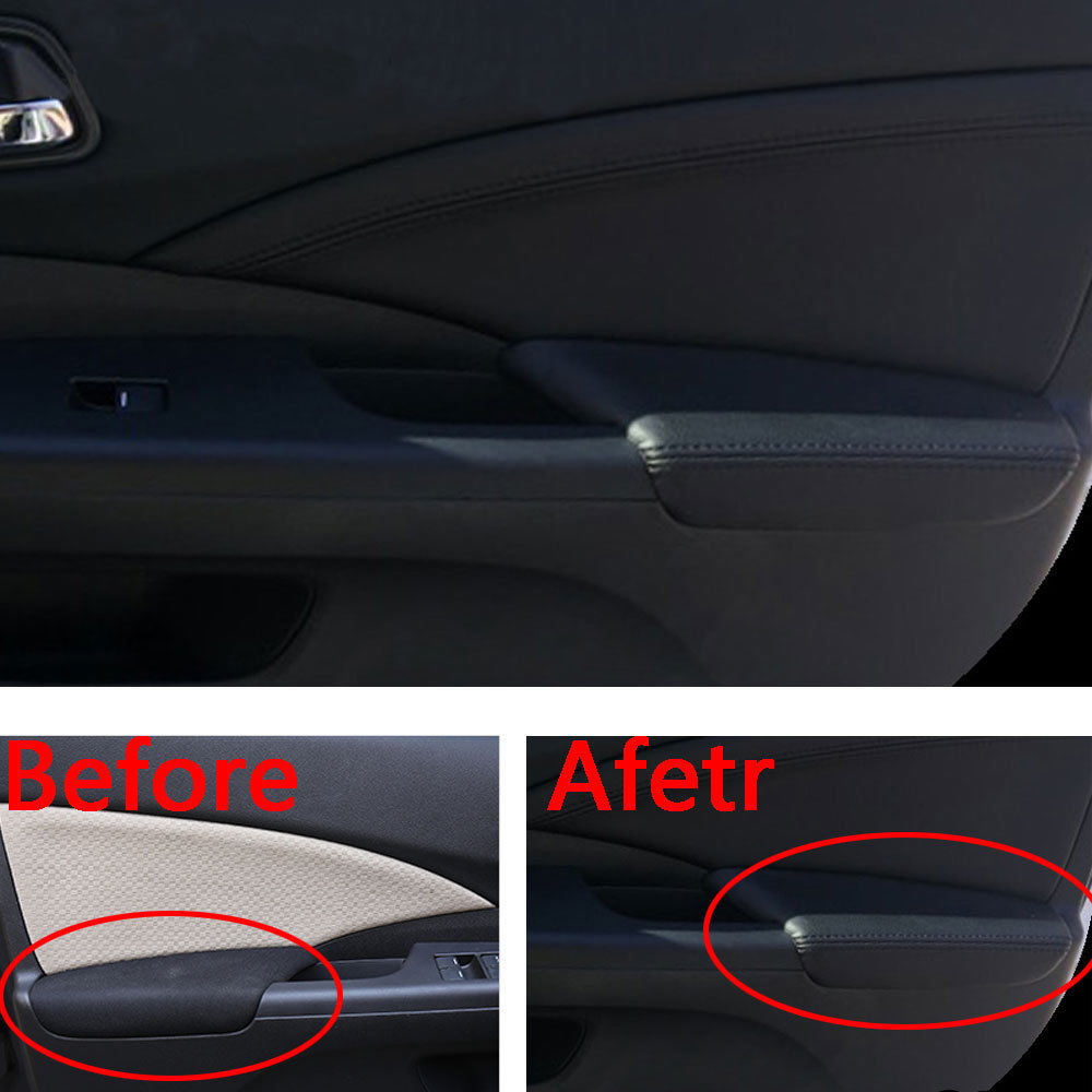 For Honda CRV CR-V 2012-2015 Door Armrest Surface Cover Trim PU Leather Anti-collision Car Covers Waterproof Protect Car Styling стоимость