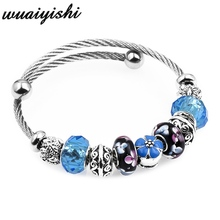 Noename Blue Crystal Glass Romantic Fashion Silver-plated Bracelet Mothers Gift Womens Jewelry