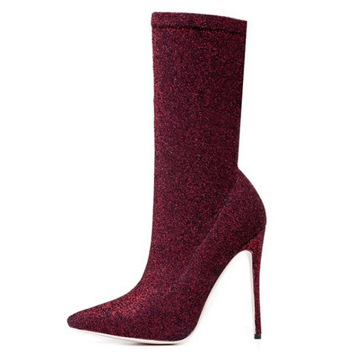 Hot Selling Wine Red Stretch Fabric Mid Calf Boots for Women Pointed Toe Thin Heels Sock Boots Womens Slip-on Ladies Dress ShoesHot Selling Wine Red Stretch Fabric Mid Calf Boots for Women Pointed Toe Thin Heels Sock Boots Womens Slip-on Ladies Dress Shoes
