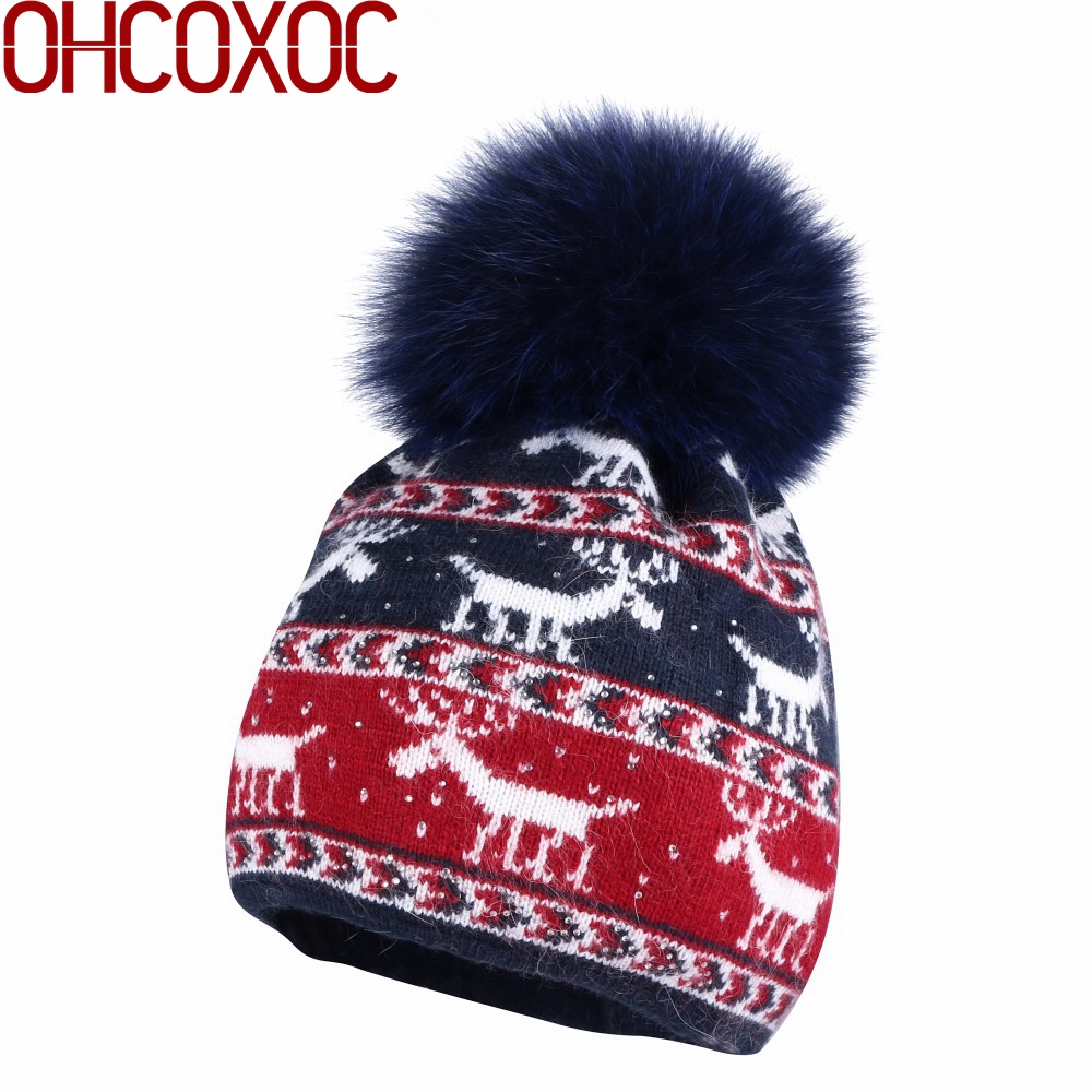New wool winter hat for women girl elk pattern lovely design cashmere with real animal fox mink fur pompom ball winter hats gorros femininos