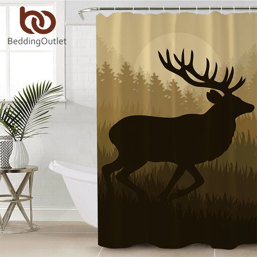 Aliexpress Buy BeddingOutlet Deer Christmas Elk Bathroom Shower Curtain Waterproof Polyester Forest Moose Decorative Bath With Hooks From