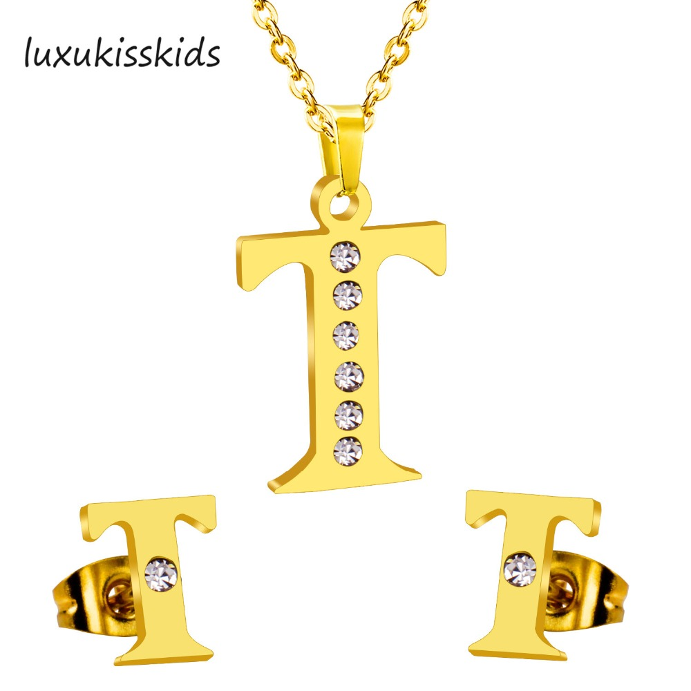 Luxukisskids New Arrival Elegant Alphabet K Letter Stainless Steel Jewelry Sets Gold Color Crystal Stud Earrings And Necklace Jewelry Sets Jewelry Sets & More