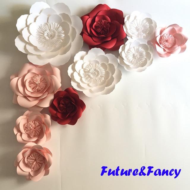 Unids 10 Piezas Set De Flores De Papel Gigante Para Fondos De Boda