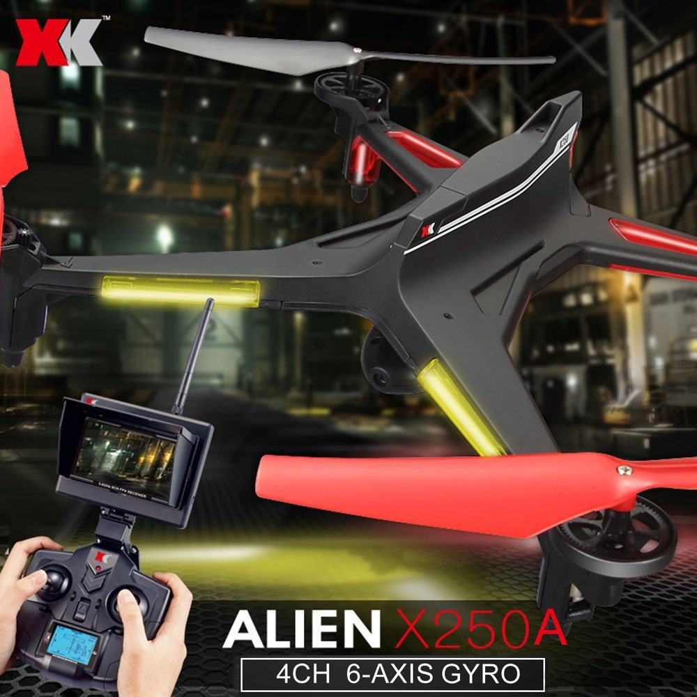 XK Alien X250A 2.4G 4CH 6-Axis Gyro 2.0MP Camera 5.8G FPV RC Quadcopter with One Key Roll Headless Mode One Key Return Function золотые серьги ювелирное изделие 01c625694