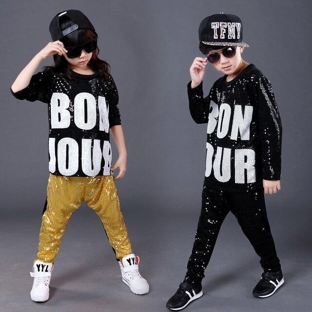 2018 nueva llegada niño hip hop Jazz danza moderna paillette ropa hip hop  niños sequined camiseta 927c5c34be4