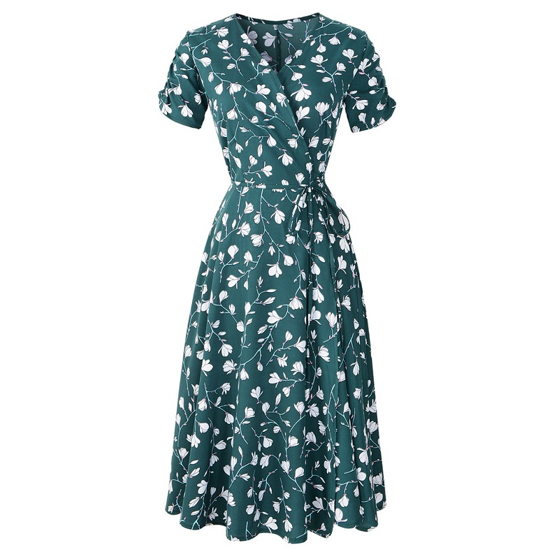 Women Sexy V Neck Printed Wrap Dress 2019 Casual Short Sleeve Chiffon Midi Dress Black Yellow Green Summer Clothes For Women
