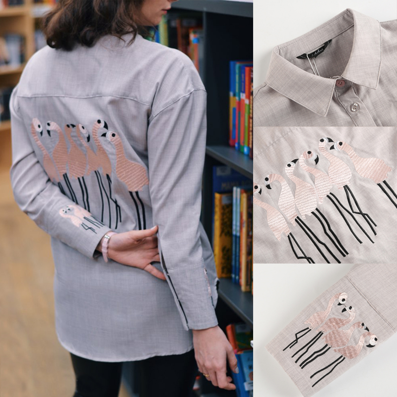Animal Embroidery Women Shirt 2019 Office Lady Shirts Casual Elegant Plus Size Tops Long Sleeve Turn-down Collar Women's Blouse