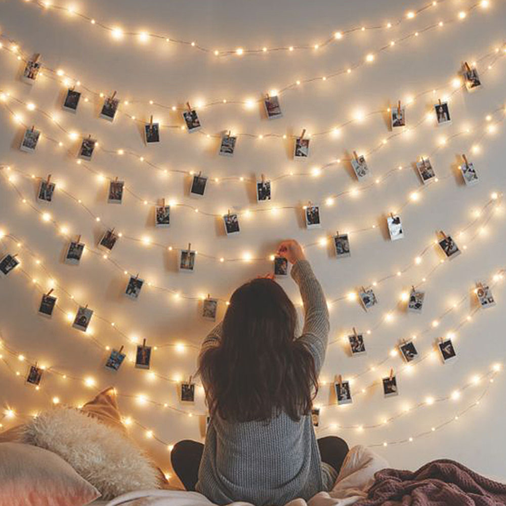 LED Photo Clip String Lights Holder Fairy Lights For Hanging Photos Pictures Cards Memos, RGB Warm White Decoration Light