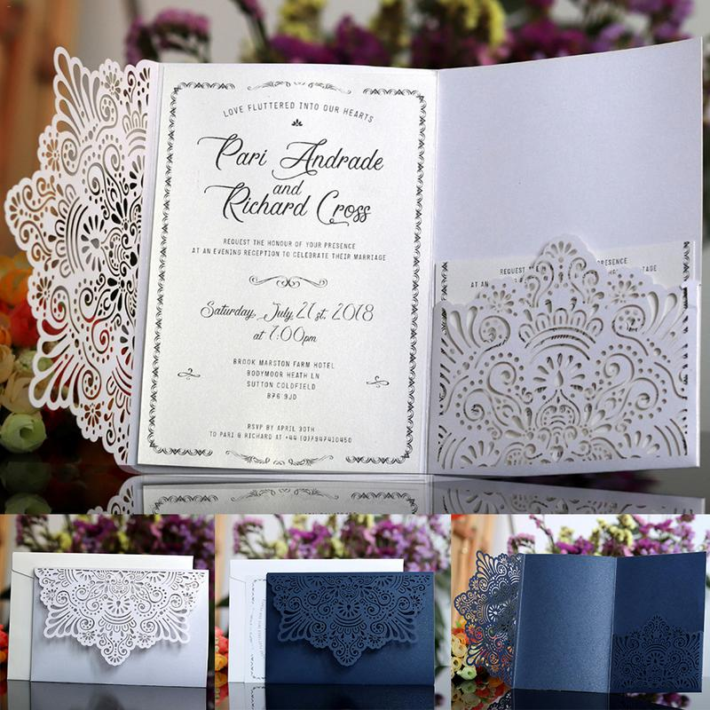 Wedding Invitations Business: 10PCS European Style Lace Laser Cut Wedding Invitations