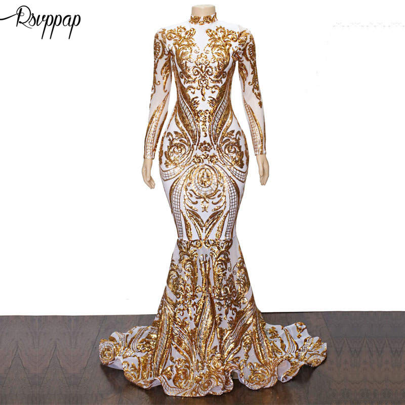 Long   Prom     Dresses   2019 Sparkly High Neck Golden Sequin Sexy White Mermaid African Women Long Sleeve Party   Prom     Dress