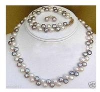 Wholesale fine Beautiful jewelry Black White pearl necklace bracelet earrings set NATURAL Quartz PlatedWomen Wedding