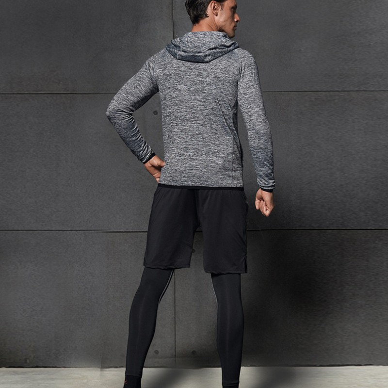 Men Long Sleeve Workout 4 Piece Tracksuit Hoody Coat Tops Shorts Leggings Outdoor Running Jogging Sportswear Sets Slim Fit Suits