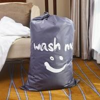 Smile Wash Me Laundry Basket Foldable Bath Hamper Dirty Clothes Drawstring Storage Bags Bathroom Rack Clothes Organizer