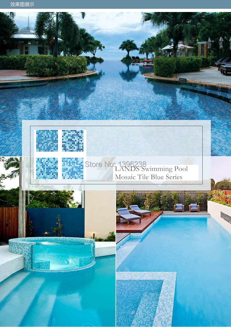 Free shipping!Sea Blue Glass Mosaic Tile Outdoor Wall Floor Tile ...