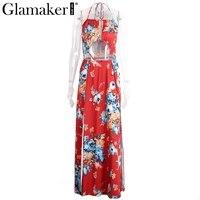 Glamaker Backless Floral Summer Dress Women Sexy High Slit Halter Long Dress Red Maxi Beach Dress