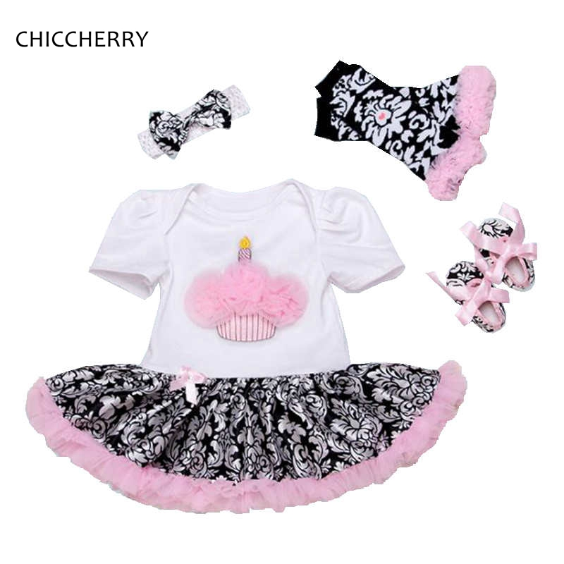 Cupcake Toddler Birthday Tutu Outfits for Girls Lace Petti Romper Dress Headband Crib Shoes Leg Warmers Baby Girl Clothes Sets