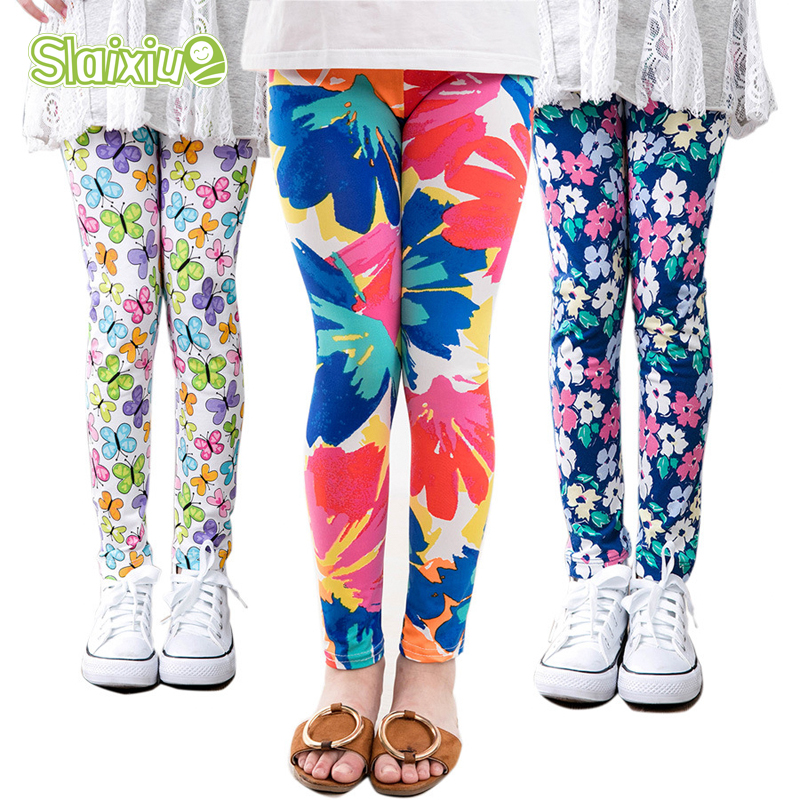 Baby Girls Leggings Kids Pencil Pants Childrens Printing Flower Toddler Classic Leggings Girl Skinny Children Trousers Leggings