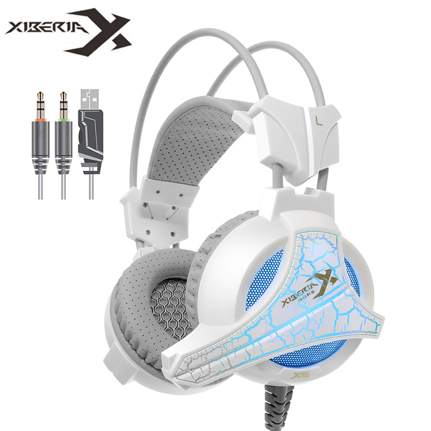XIBERIA X5 Computer Gaming Headphones Best Over-Ear Stereo Headset with Microphone Mic Breathing LED Light for PC Game casque original xiberia v2 led gaming headphones with microphone mic usb vibration deep bass stereo pc gamer headset gaming headset