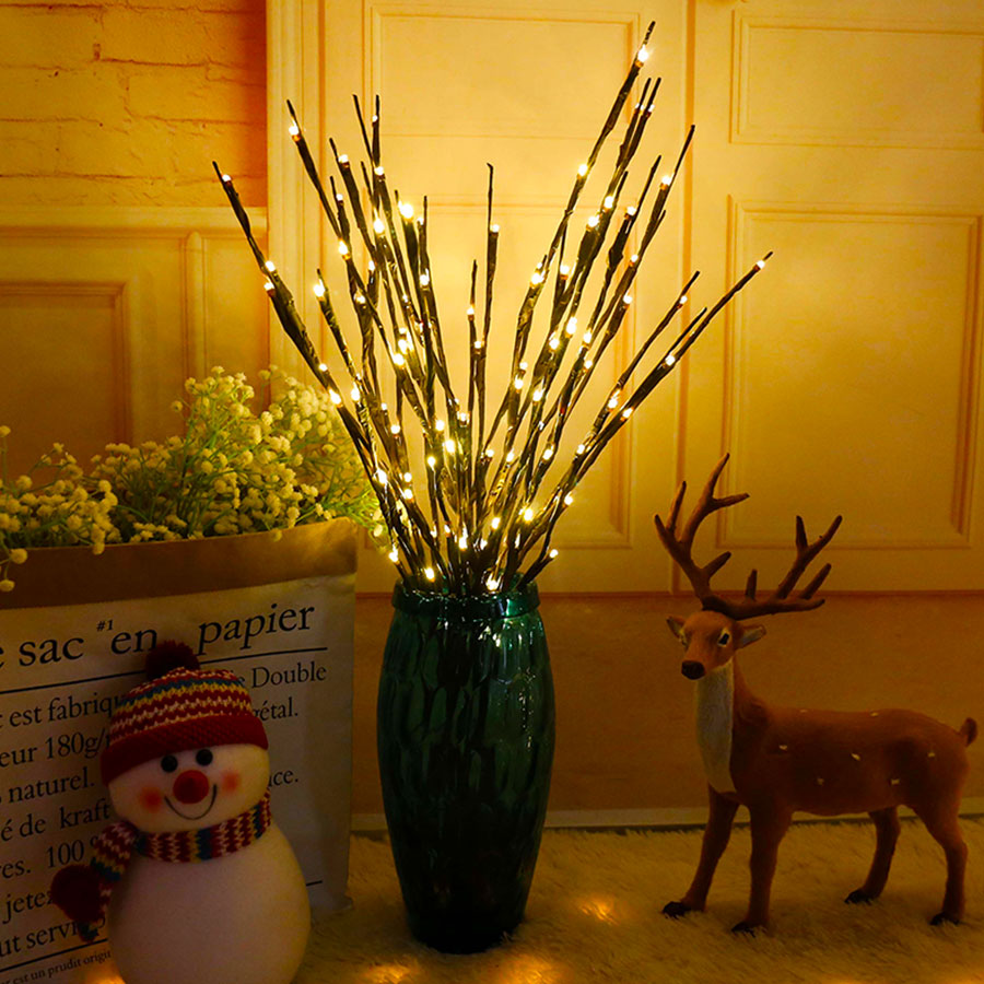 LED Willow Branch Lamp Floral Lights 20 Bulbs Tall Vase Filler Willow Twig Home Christmas Wedding Party Decorative Lights Lamp