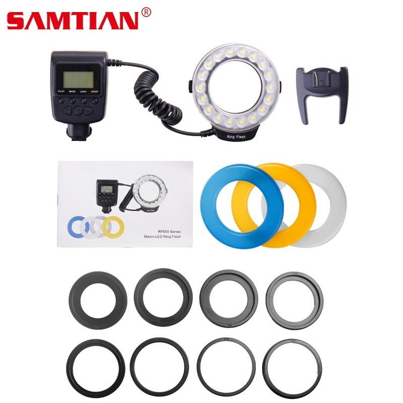 SAMTIAN RF-600D Led Macro Flash LED Ring Speedlight For Canon Nikon Olympus Sony DSLR Cameras kamerar qv 1 lcd viewfinder for 3 3 2 canon nikon sony olympus dslr cameras