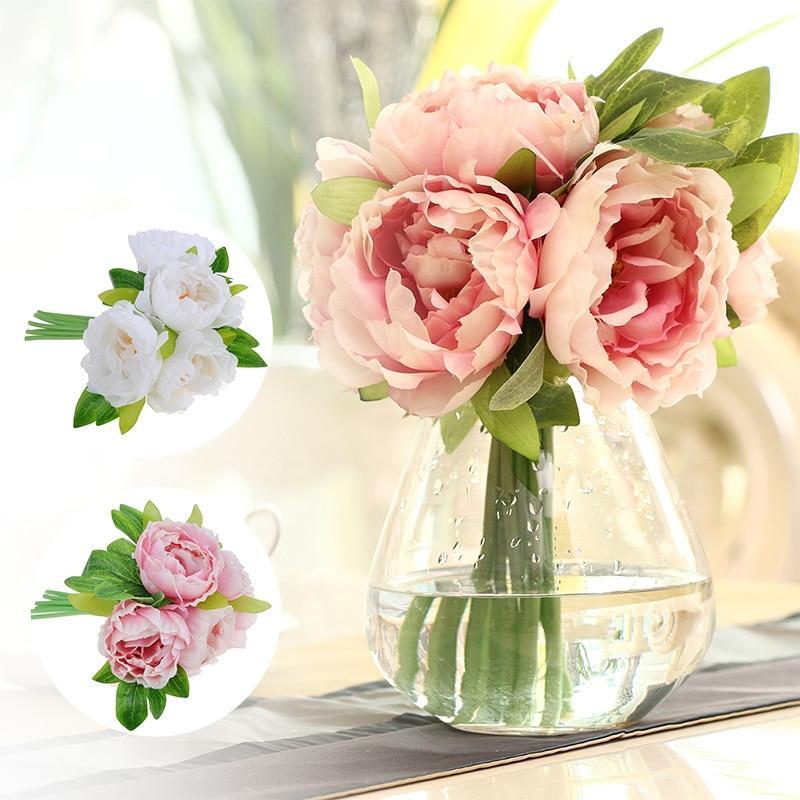 ᓂ5 Heads/bunch Artificial Flowers Fake Peony Simulatiom Wedding ...