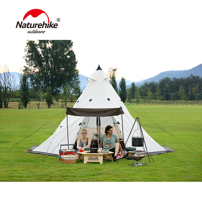 Naturehike Pyramid Outdoor Camping Hiking Tent Family Tent For 3-8 People Camping 4 Season Tent Big Space Camping Hiking Tent naturehike 3 4 5 8 persons large family tent pyramid waterproof outdoor camping hiking triangle tent simple indian tent
