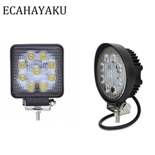 ECAHAYAKU 1Pcs 4inch 27W LED Work Light Bar 12V 24V Square/Round Offroad Lamp Worklight for Motorcycle Truck