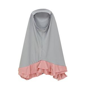 Image 4 - 2 PCS Miúdos Muçulmanos Hijab Meninas + Vestido Conjunto Cachecol Abaya Jilbab Kaftan Oriente médio Árabe Islâmico da Oração Roupas Sólida cor Ternos Novo