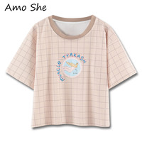 Amo She Plaid Cartoon Pattern Letter Print T Shirt Short Sleeve Round Neck Pullovers Women Summer
