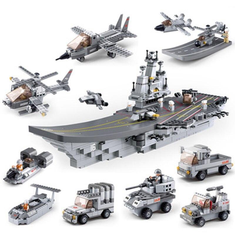 Marine sous-marin Compatible Legoed navire militaire avion avion avion transporteur navire de guerre croiseur de bataille frégate modèle blocs de construction jouet